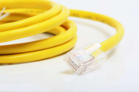 yellow network lan cable close up photo