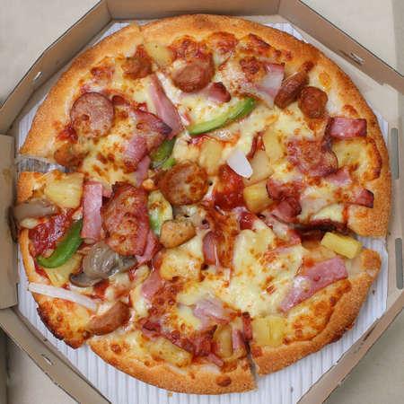 pizza box: pizza in box, top view Stock Photo
