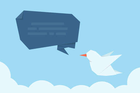 tweet: social media message bird, vector