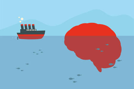 ship and brain iceberg, vector Vector