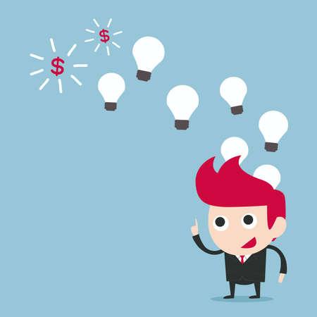 think big: businessman earning money form idea, vector