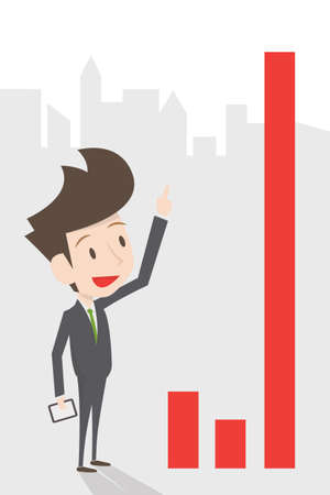 pointing up: businessman growing graph, vector