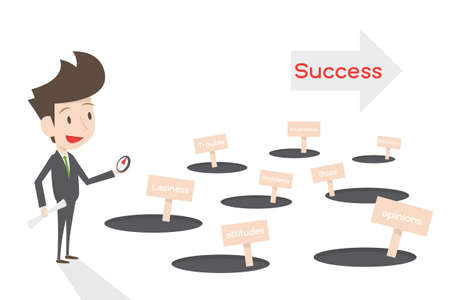 off path: businessman and the way to success, vector Illustration