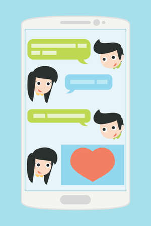 instant message: people chatting on mobile phone, vector Illustration