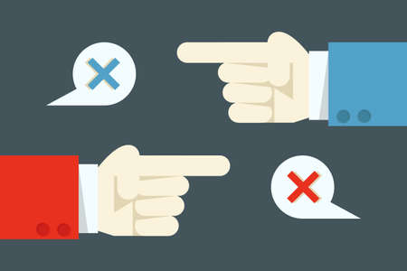 pas d accord: main avec le concept de conflit, vecteur Illustration