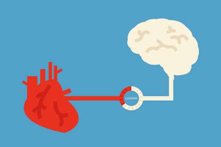 puls: mózg i serce wzór, wektor