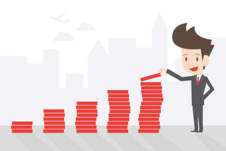 Succesvol zakenman en grafiek, vector. Stock Illustratie
