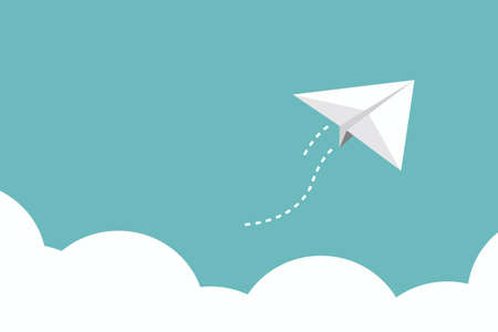 toy plane: paper plane over cloud, vector