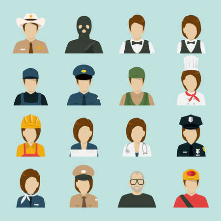 professionals: profession Icon set 2, vector Illustration