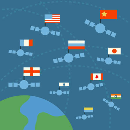 earth and satellite with nation flags, vector