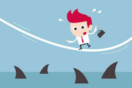 shark cartoon: businessman in risk, vector Stock Photo