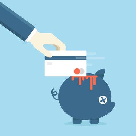 dea: credit card and piggy bank, vector Stock Photo