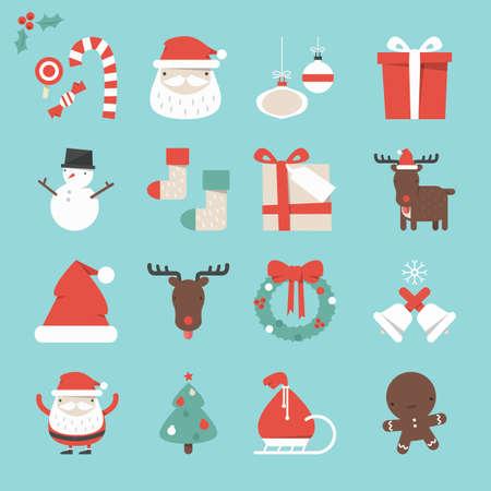 cartoon christmas tree: Cristmas Icons set, vector