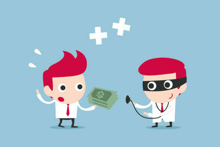 doctor giving dollars: treatment and payment, vector