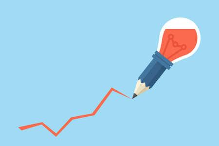 pensamiento creativo: idea lápiz bombilla, concepto de negocio de diseño vectorial Foto de archivo