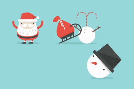 Funny Santa and snowman accident, vector photo