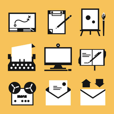 Writing icons, vector photo