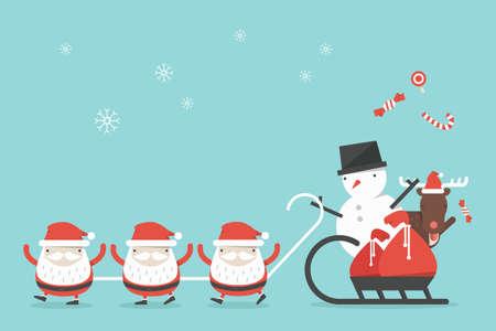 funny christmas cartoon background, vector