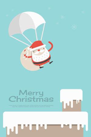 De Kerstman in kerstnacht achtergrond