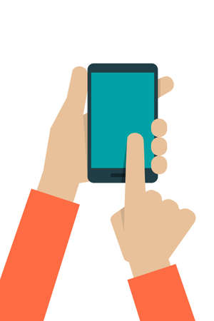 hand holding smart phone: hand touching screen, vector