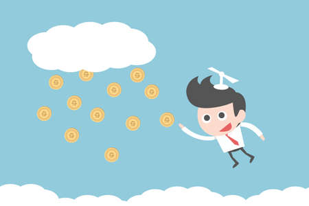 competitive business: businessman flying to money, vector