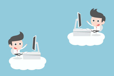 businessman working on clouds, vector Vector