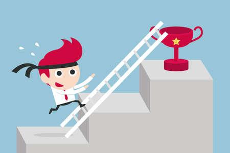 working hard businessman concept, vector Illustration