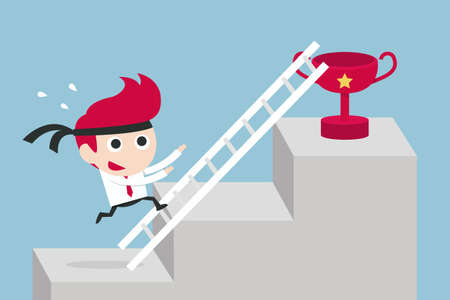 working hard: working hard businessman concept, vector Illustration