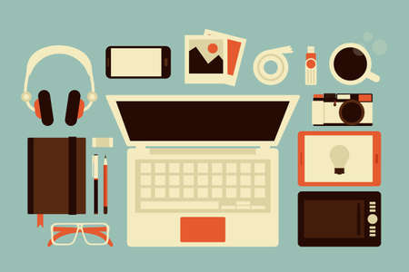 work hard: graphic designer accessories, vector