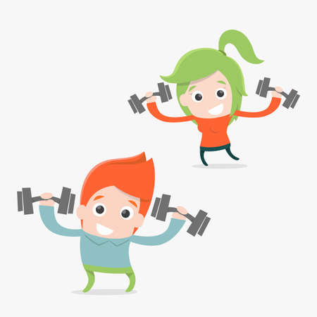 Exercise cartoon, vector Vector