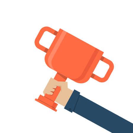 promoted: hand holding trophy, vector  Illustration