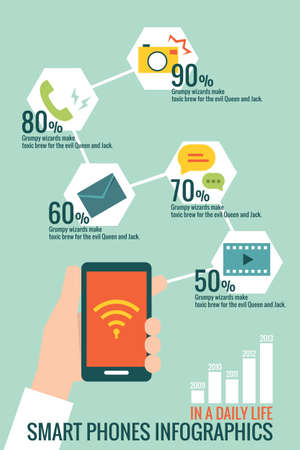 calling art: mobile phone infographic design, vector