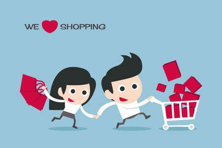 paar genieten van winkelen cartoon, vector Stock Illustratie