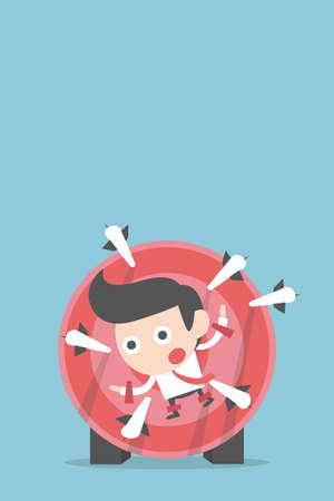 fear cartoon: businessman in risk, vector Illustration