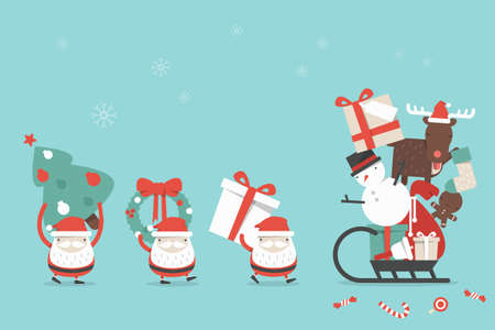 Christmas cartoon background, vector