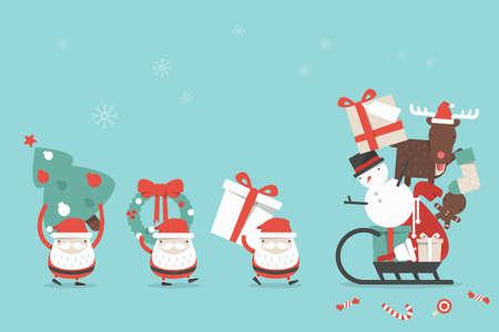 Christmas cartoon background, vector