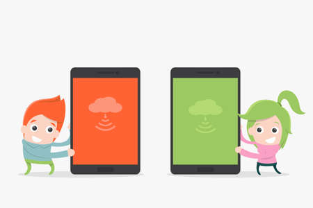 charactor: mobile phone and smiling cartoon, vector