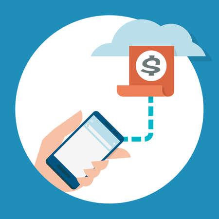 technology transaction: mobile banking, vector Illustration