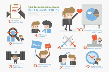 job promotion: succeed businessman  info graphics flat design Illustration
