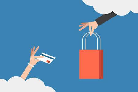 winkelen online concept Stock Illustratie
