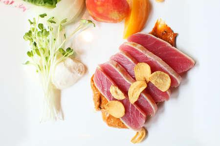 potato tuna: grilled tuna  Stock Photo