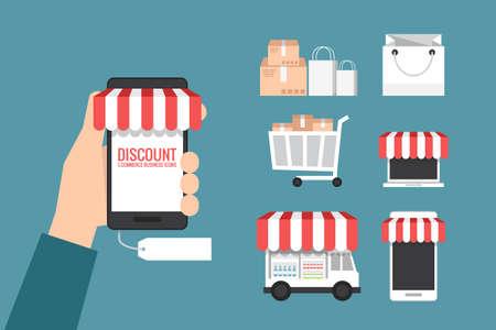 online winkel en winkelen pictogram, vector Stock Illustratie