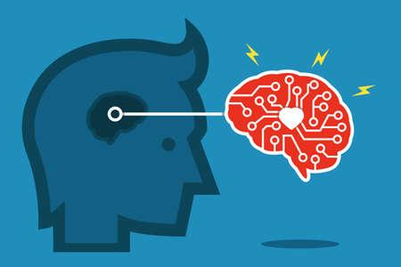 brain idea flat design, vector