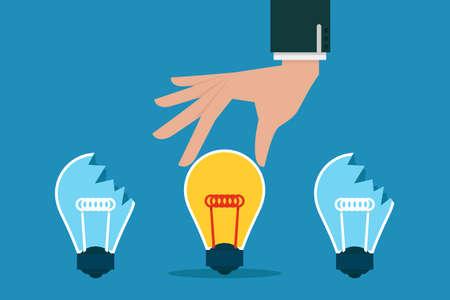 pick: Hand pick idea bulb, vector  Illustration
