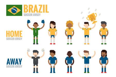 charactor: Brazil soccer team charactor flat design, vector