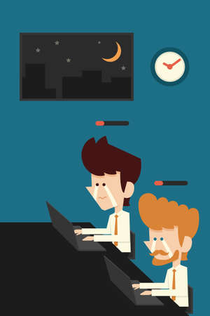 night suit: exhausted businessman working late Illustration