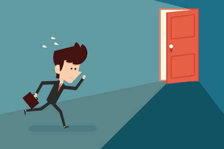 open suitcase: Running businessman and open door, vector