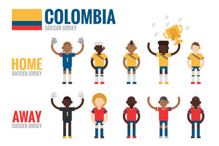 Colombia soccer team icons flat design, vector Vector