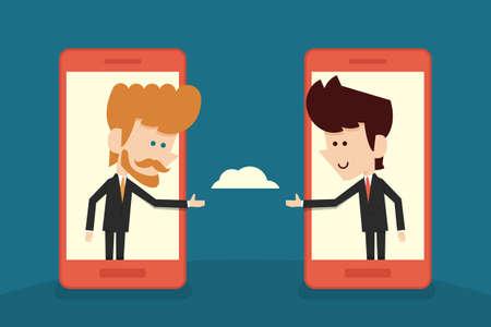 communication of businessman flat cartoon. vector Vectores