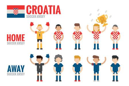 charactor: Croatia soccer team charactor flat design ,vector